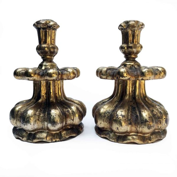 Early 18th Century Pair of Rococo Candlesticks Carved Mecca Silver-Leaf Wood