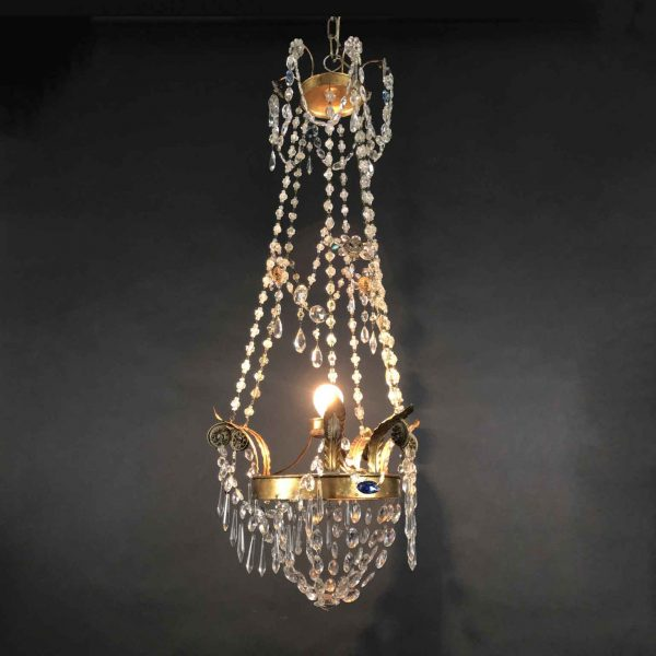 19th Century Italian Beaded Crystal Chandelier Empire Style