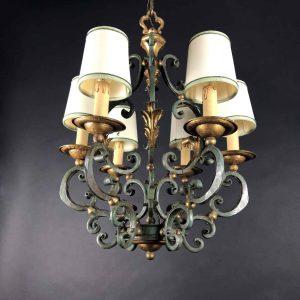 lampadario in ferro battuto laccato e dorato i