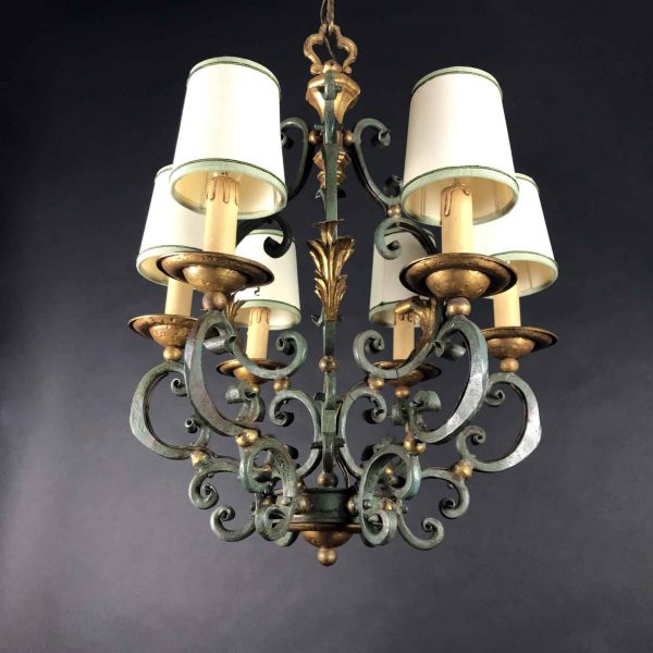 20th Century Italian Wrought Iron Dusty Gray and Gilt Chandelier