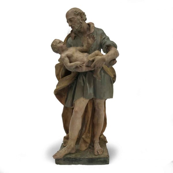 18th Century Italian St Joseph with Infant Jesus Circle of Piò Angelo Gabriello