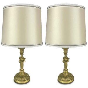 coppia di lampade dorate da tavolo