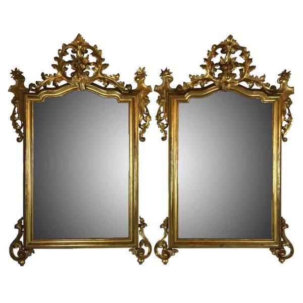 Pair of Italian Giltwood Mirrors 19th Century Neapolitan Louis Philippe Mirrors