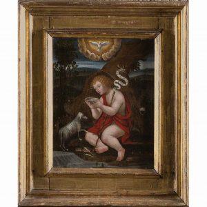 san giovannino e l'agnello di un maestro lombardo del 1500.