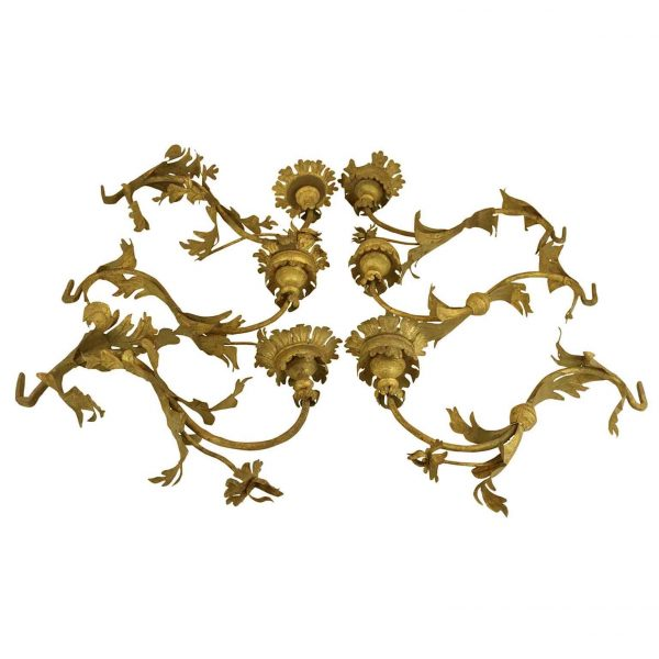 18th Century Set of Six Italian Gilt Iron Arms Suitable as Wall Lights