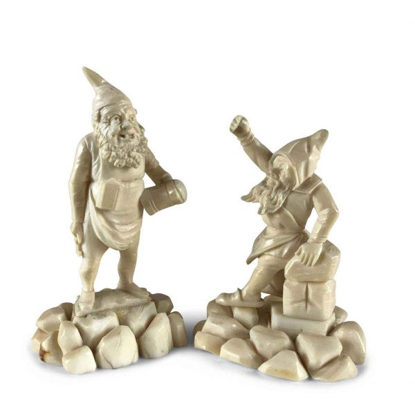 Pair of 19th Century German Carved Bone Gnomes