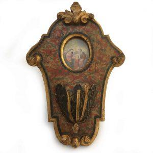 acquasantiera legno policromo marche XVIII secolo