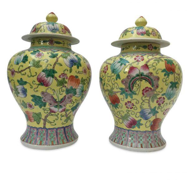 Coppia di Potiches Cinesi in Porcellana a Fondo Giallo