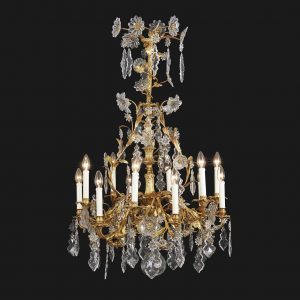 lampadario antico dorato francese con cristalli q