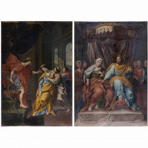 coppia di dipinti antichi con ester e assuero q