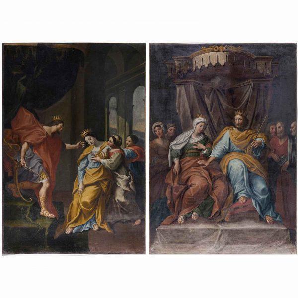 18th Century Pair of Italian Biblical Paintings Esther before Ahasuerus
