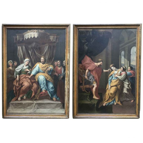18th Century Pair of Italian Biblical Paintings Esther before Ahasuerus