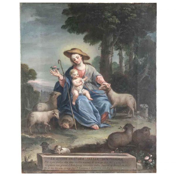 18th Century Italian School Mary The Divine Shepherdess