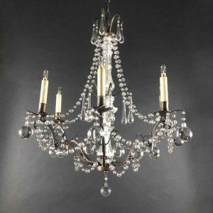 lampadario da salotto in cristallo anni trenta