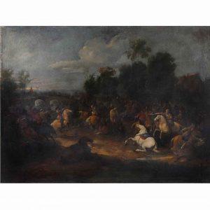 paesaggio antico con battaglia
