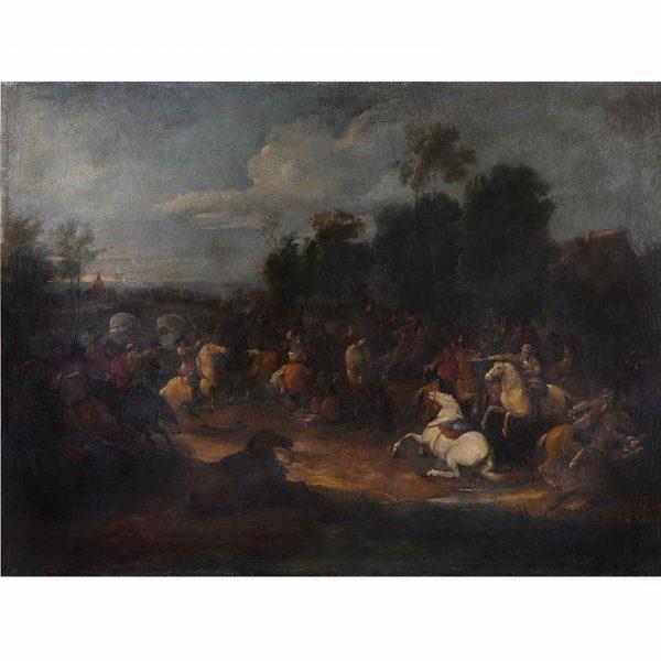 19th Century Flemish School Battle Scene with a Bridge and River Landscape