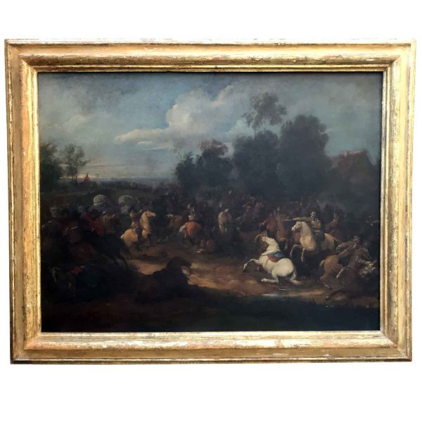 19th Century Flemish School Battle Scene with a Bridge and River Landscape