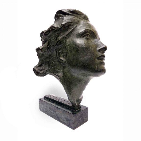 Italian Woman Head Bronze Sculpture Entitled GIOVINEZZA Youth by Ravasio 1940s