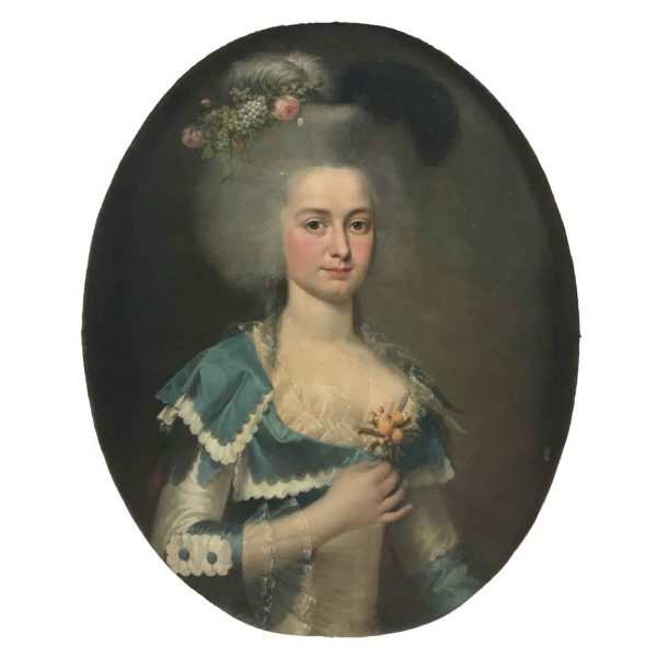 18th Century French Portrait of a Lady with Blue Dress