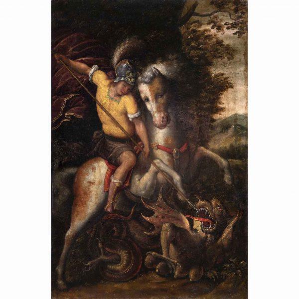 Saint George and the Dragon 17th Century Italian School Oil on Walnut Panel Painting