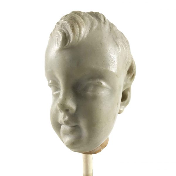 Italian 17th Century Baroque White Marble Angel Head