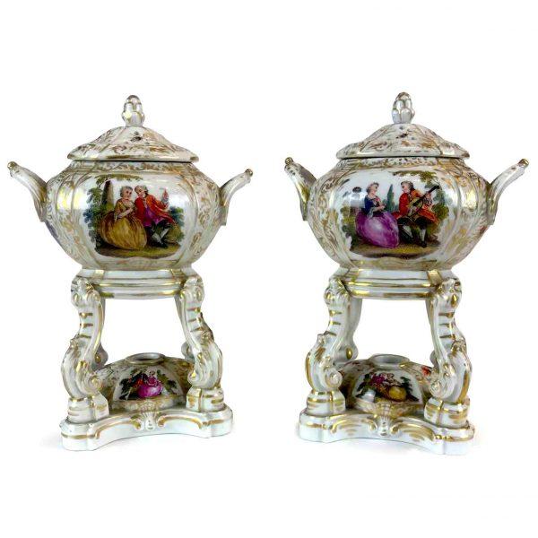 Coppia di Antichi Bruciaprofumi Porcellana Tedesca 1800