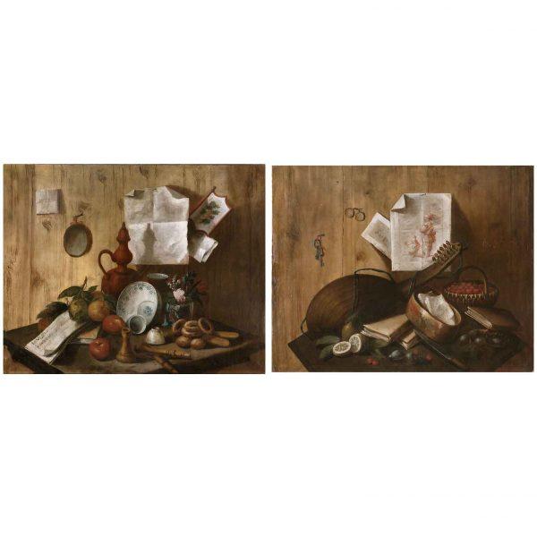 18th Century Italian Pair of Trompe L'Oeil Still Life Paintings after Cristoforo Munari
