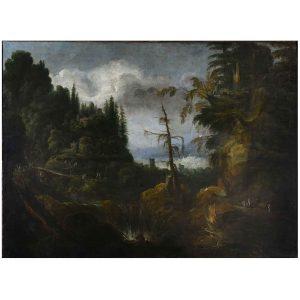 grande paesaggio montano animato con architetture del 1700