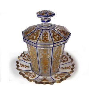 vaso in cristallo e oro d'epoca direttorio a
