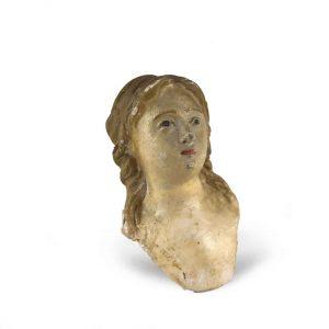 busto di santa da presepe in terracotta 1700
