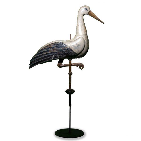 20th Century  Painted Iron Stork Weathervane Italian Folk Art
