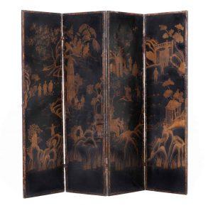 paravento in legno e cuoio decorato a chinoiserie