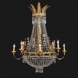 lampadario antico con cristalli fine 1700 q