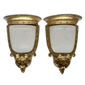 coppia di mensole dorate con ceramiche giustiniani 1800 a