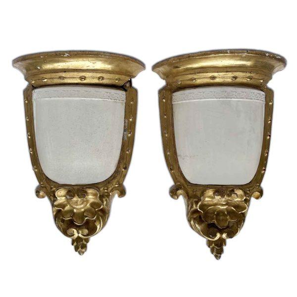 Coppia di Mensole Dorate con Ceramiche Giustiniani 1800