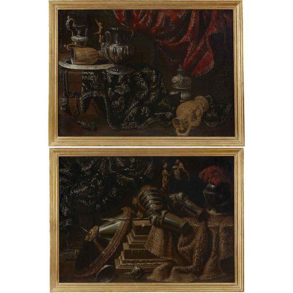 Coppia di Nature Morte del 1600 Seguace di Francesco Noletti