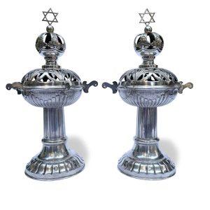 coppia di rimonim in argento cecoslovacchia 1938